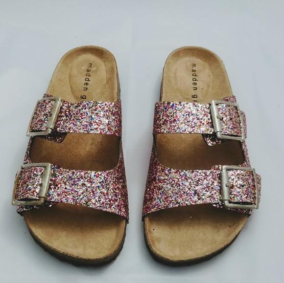 New Madden Girl Glitter Slideon Sandals